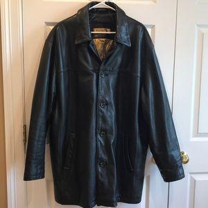Andrew Marc New York black Leather Coat size XL